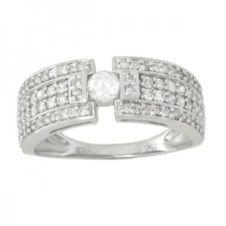 Bague solitaire et diamants art deco en or blanc 18 carats - Thea
