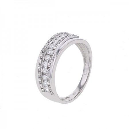 Bague diamants sertis rails et grains en or blanc 9 carats - Savannah