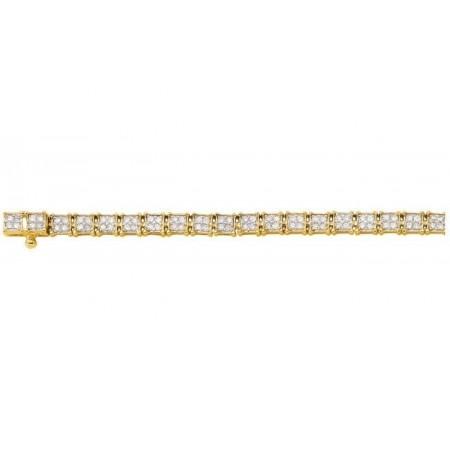 Bracelet rivière maillons carrées diamants en or jaune 18 carats - Theatis
