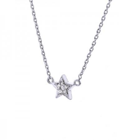 Collier étoile et diamants  en or blanc 9 carats - Mini de l'un
