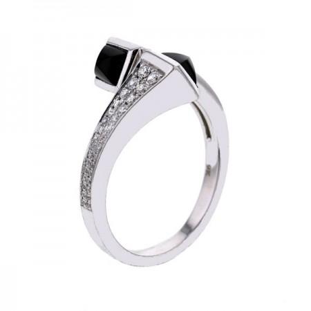 Bague toi et moi avec de l'onyx noir et diamants en or blanc 9 carats - Berlin