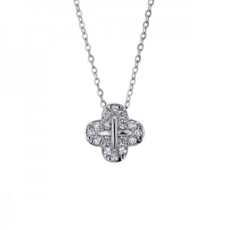 Collier trèfle zirconium en or blanc 9 carats - Brings Luck