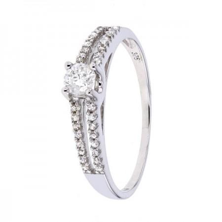 Bague de fiançailles diamants raffinée et moderne en or blanc 9 carats - Timsha