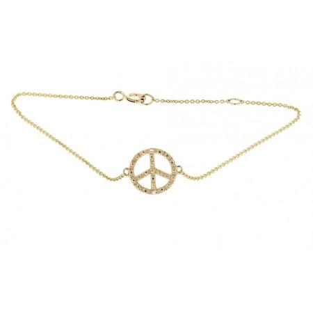 """Bracelet chaîne """"Peace and love"""" diamants en or jaune 9 carats - Sinsemilia"""