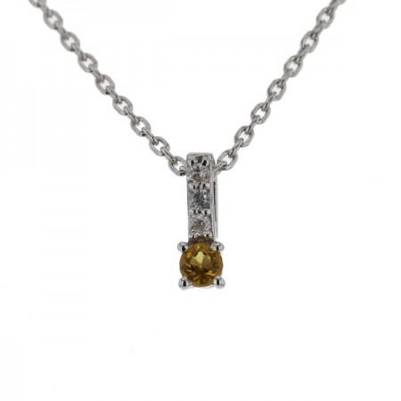 Collier baton citrine et diamants en or jaune 9 carats - Erna