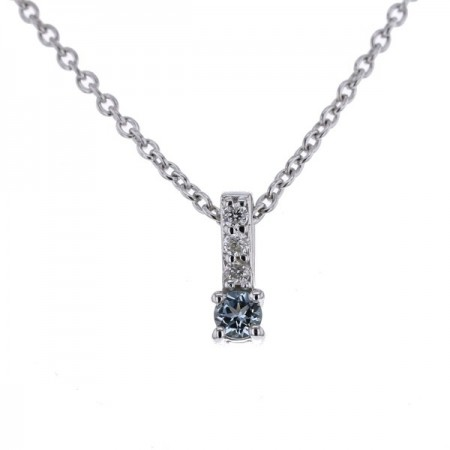 Collier baton topaze bleue et diamants en or blanc 9 carats - Erna
