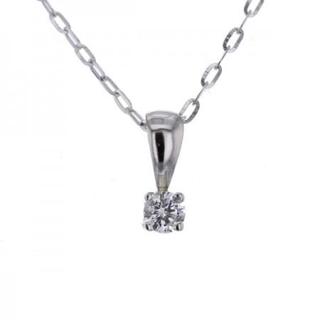 Pendentif puce diamant 4 griffes  en or blanc 9 carats - Kaleria