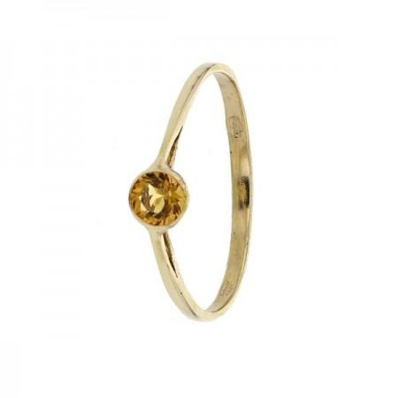 Bague bouton citrine en or jaune 9 carats - Bouton