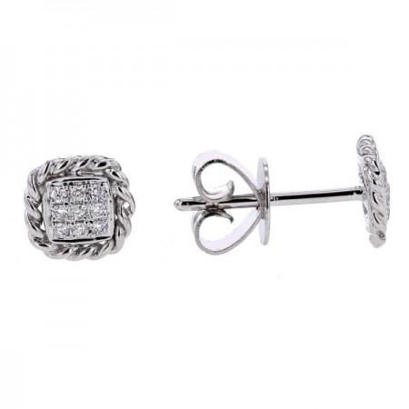 Boucles d'oreilles multi-pierres diamants  en or blanc 9 carats - Vienna