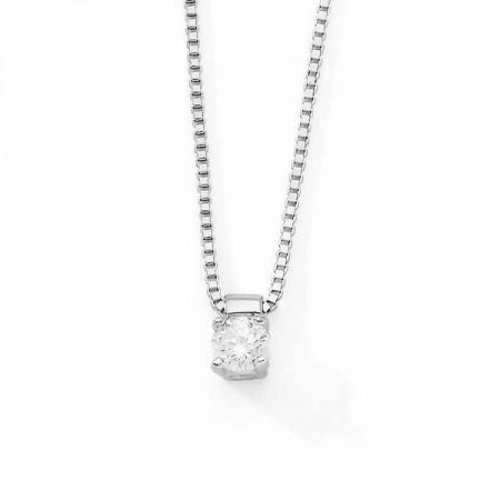 Collier clou diamant monté sur quatre griffes  en argent - Carrie