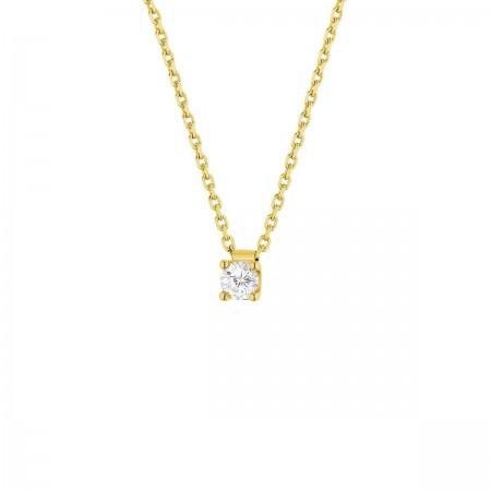 Collier clou diamant monté sur quatre griffes  en or jaune 18 carats - Carrie