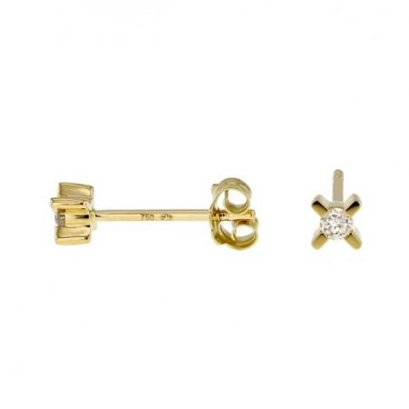 Boucles d'oreilles trilogie de diamants en or jaune 18 carats - Triple X