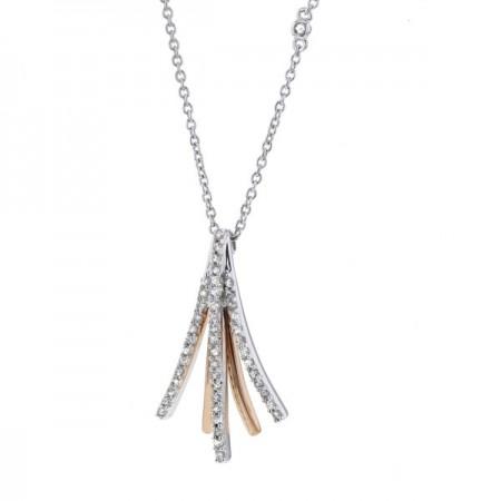 Collier Insolence détails roses diamants en or blanc 9 carats - Dehli