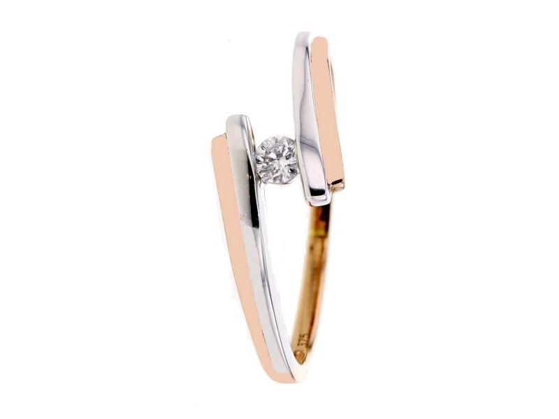 Solitaire bicolore avec un diamant en or rose 9 carats - Riona