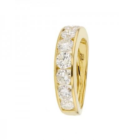 Demi-alliance rail diamants éco en or jaune 18 carats - Victoria