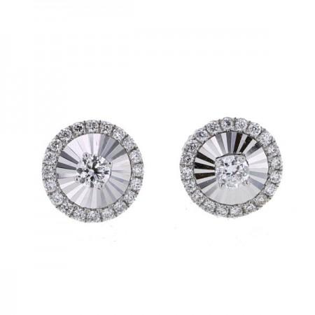 Boucles d'oreilles rondes sertis CNC  en or blanc 18 carats - Hava