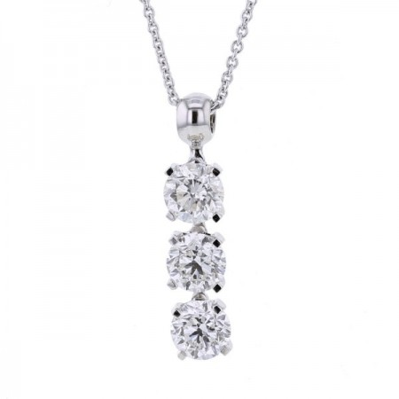 Collier trilogie de diamants sertis 4 griffes  en or blanc 18 carats - Empire