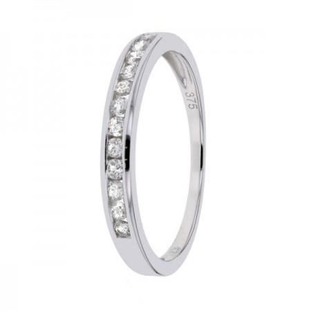 Demi-alliance diamants sertis rails en or blanc 9 carats - Esterina