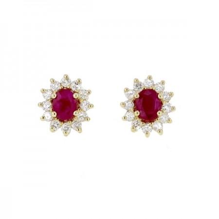 Boucles d'oreilles rubis avec entourage de diamants  en or jaune 18 carats - Errel