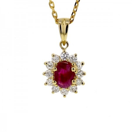 Pendentif rubis entourage de diamants   en or jaune 9 carats - Errel