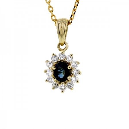 Pendentif saphir entourage de diamants   en or jaune 9 carats - Errel