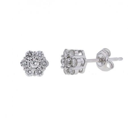 Boucles d'oreilles multi-pierres diamants  en or blanc 18 carats - Orlando