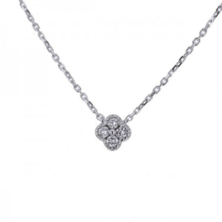 Collier trèfle avec diamants GM en or blanc 18 carats - Stella