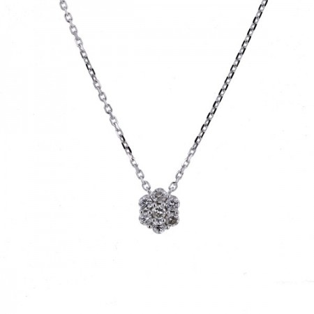 Collier multi-pierres diamants chaîne en or blanc 18 carats - Orlando