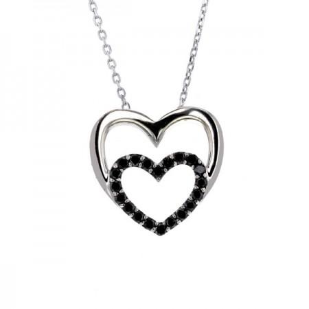 Collier coeurs diamants noirs et blancs en argent - Jodie