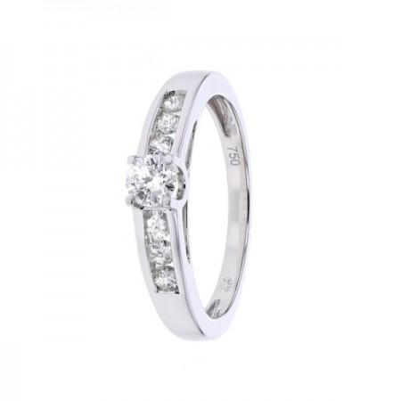 Bague solitaire diamant accompagné en or blanc 18 carats - Iona