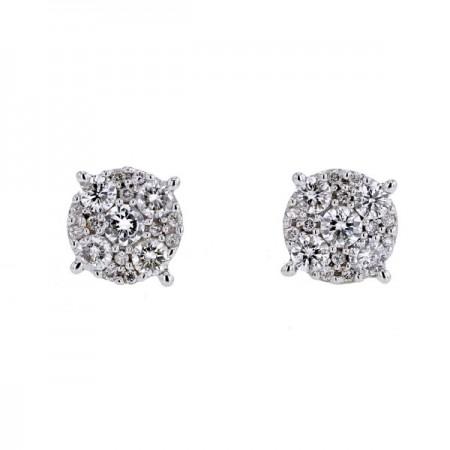Boucles d'oreilles multi-pierres diamants en or blanc 18 carats - Precious