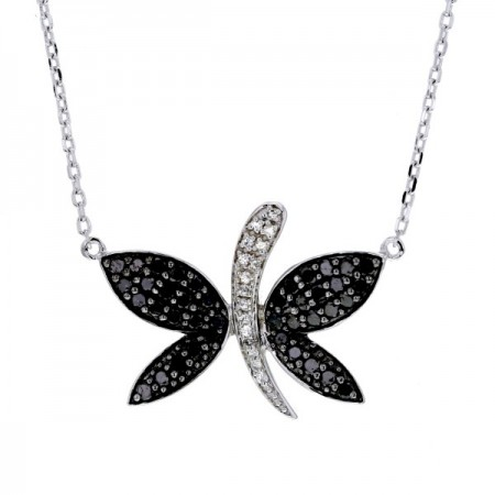 Collier papillon diamants noirs  en argent - Damia