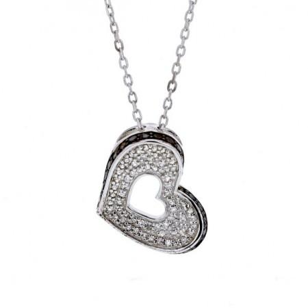 Collier coeur diamants noirs et blancs en argent - Devenda