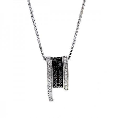 Collier diamants noirs et blancs en argent - Drew
