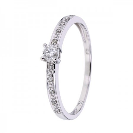 Bague solitaire de fiancailles accompagnés de diamants  en or blanc 18 carats - Together