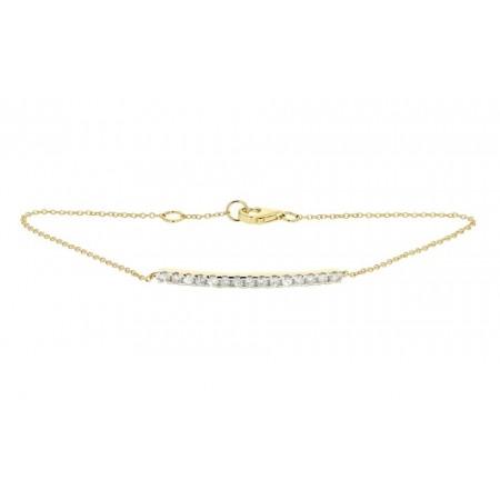 Bracelet barrette sertie diamants montée sur chaîne en or jaune 18 carats - Noblesse
