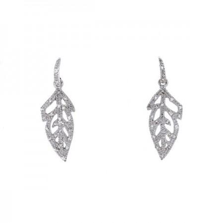 Boucles d'oreilles plumes pavées diamants  en or blanc 9 carats - Sinsemilia