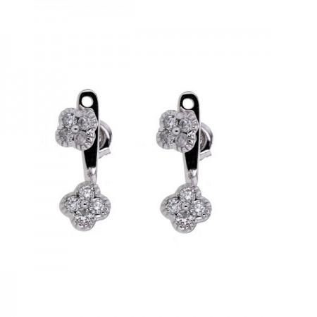 Boucles d'oreilles diamants trèfles avec accroche en or blanc 9 carats - Stella