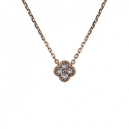 Collier trèfles avec diamants GM en or rose 18 carats - Stella