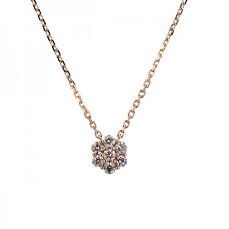 Collier multi-pierres diamants chaîne en or rose 18 carats - Orlando