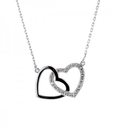 Collier cœur avec des diamants en or blanc 18 carats - Jolanta