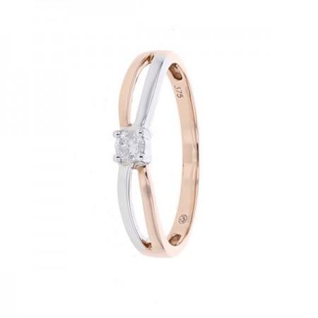 Bague solitaire avec corps croisé pavé diamant en or rose 9 carats - Hannele