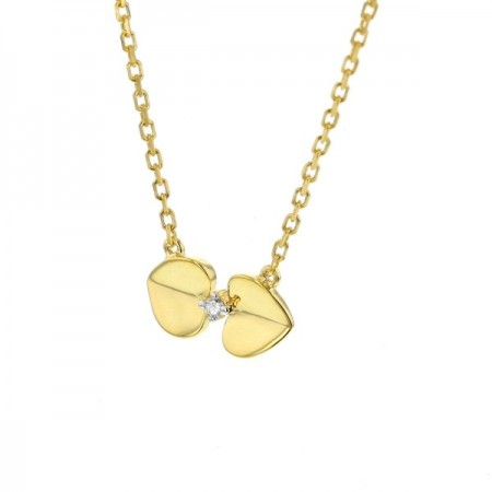 Collier coeur diamants en or jaune 9 carats - Geminie