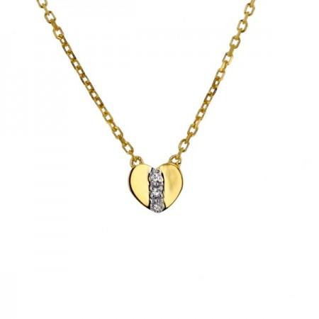 Collier coeur diamants en or jaune 9 carats - Kenna