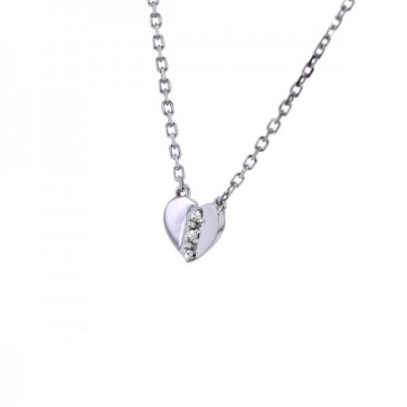 Collier coeur diamants en or blanc 9 carats - Kenna