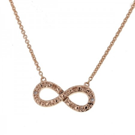 Collier chaîne Infinity avec diamants en or rose 9 carats - Sinsemilia