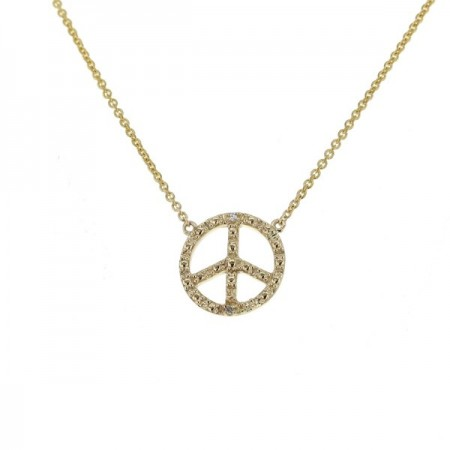 "Collier chaîne ""Peace and love"" et diamants en or jaune 9 carats - Sinsemilia"