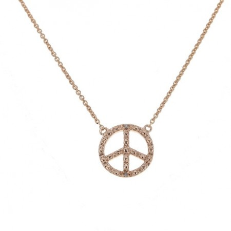 "Collier chaîne ""Peace and love"" et diamants en or rose 9 carats - Sinsemilia"