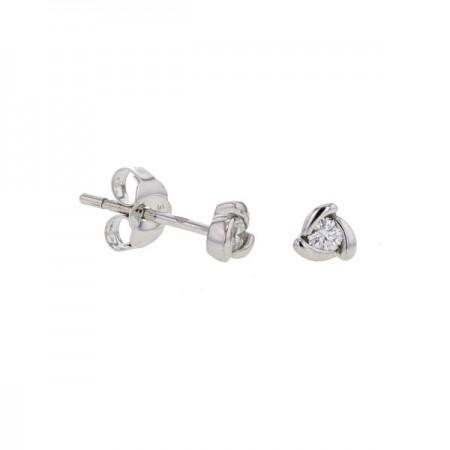 Boucles d'oreilles solitaires diamants avec griffes torsadées   en or blanc 9 carats - Henryka