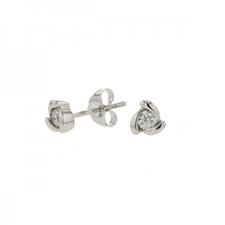Boucles d'oreilles solitaires diamants avec griffes torsadées   en or blanc 9 carats - Galith